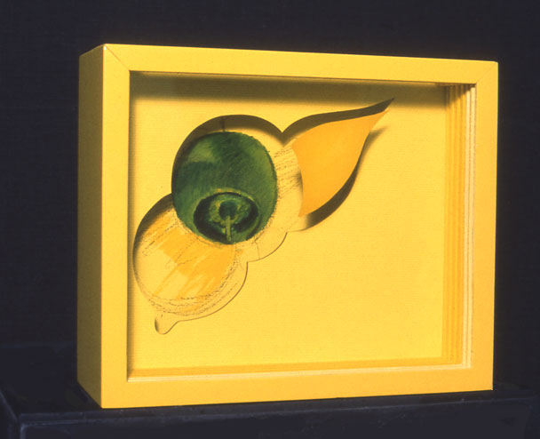"""Sunshine"", 1964  Acrylic Paint on Canvas and Spray Paint on Plastic Sheets, Charcoal, Wood Box  13""x12""x4"""