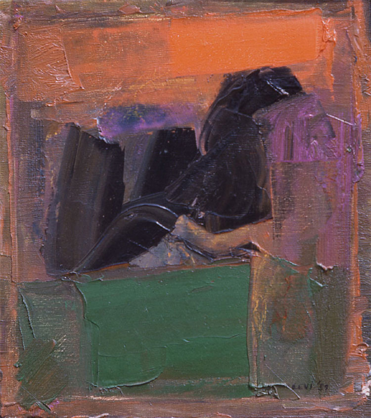 "Two Geometric and Organic Bat, 1958  Oil on Canvas  12""x15"""