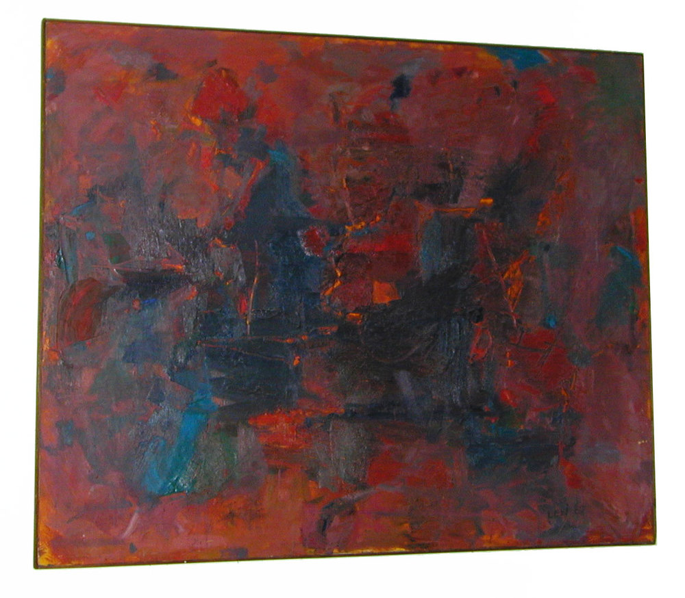 "Red and Blue, 1960  Oil on Canvas  54""x64"""
