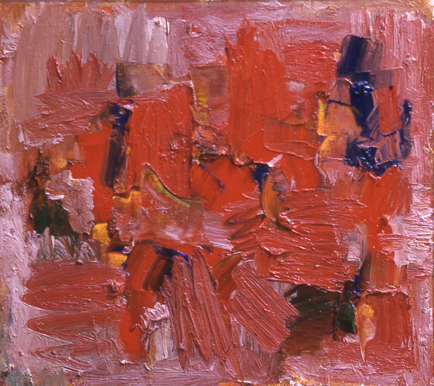 "Red, 1957  Oil on Canvas  12""x12"""