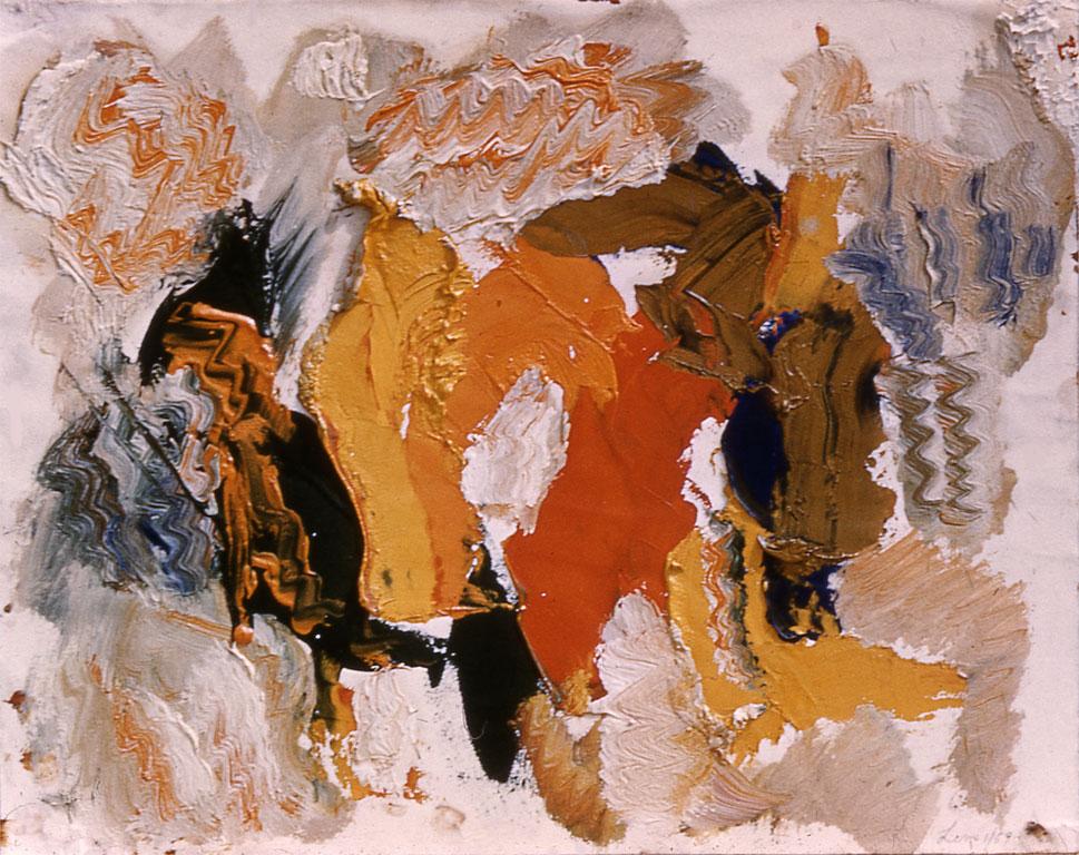 "Barn, 1957  Oil on Paper  12""x14"""