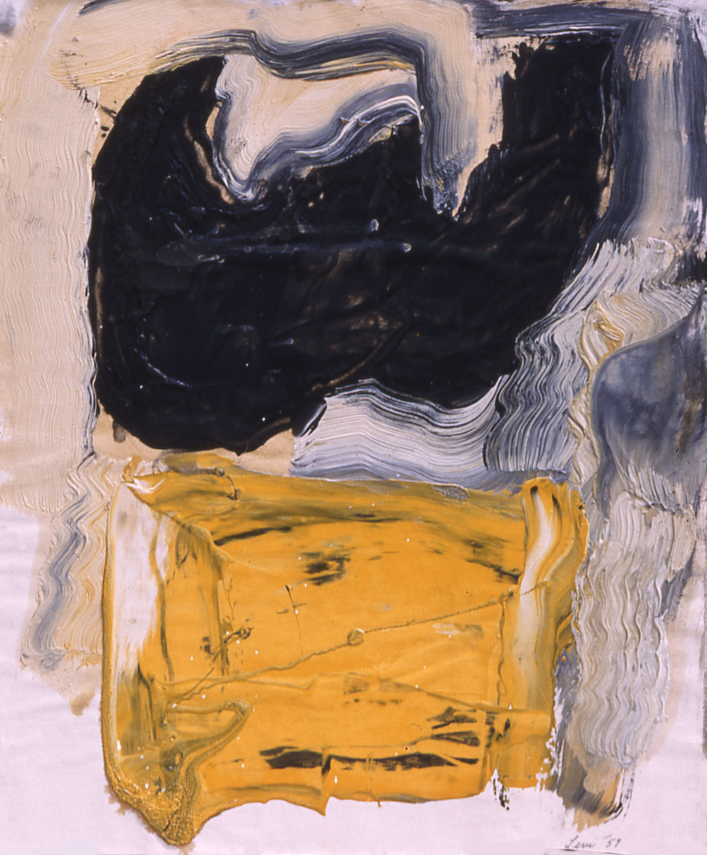 "Yellow and Black Bat, 1957  Oil on Paper, 10""x12"""