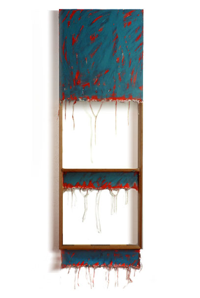 """Thalo Green and Red and White"", 1978  Acrylic on White Canvas with White Wall and Stretcher Bars  22'x60""x2"""