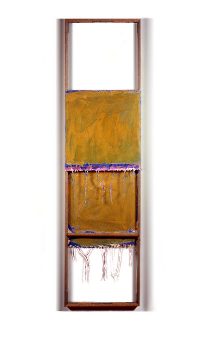 """Yellow Orange, Blue, Purple, and White"", 1979  Acrylic on White Canvas with White Walls and Stretcher Bars  22""x80""x2"""