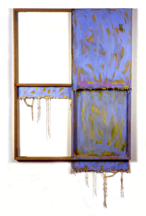 """Blue, White, and Yellow"", 1978  Acrylic on White Canvas with White Wall and Stretcher Bars  45""x50""x2"""