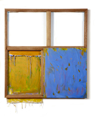 """Yellow, Orange, Blue and White"", 1978  Acrylic on White Canvas with White Wall and Stretcher Bars  30""x40""x2"""