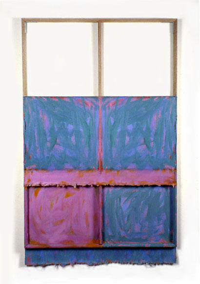 """Thalo Green, Violet, Orange, White"",1980  Oil on White Canvas with White Wall and Stretcher Bars  45""x60""x2"""