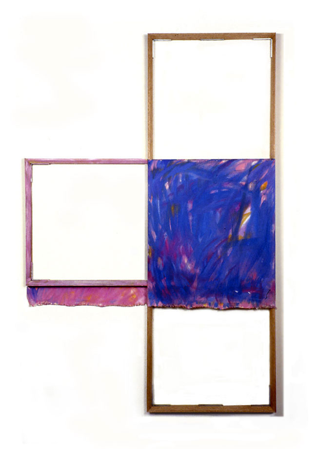 """Blue, White, Violet"",1980  Oil on White Canvas with White Wall and Stretcher Bars  45""x65""x2"""