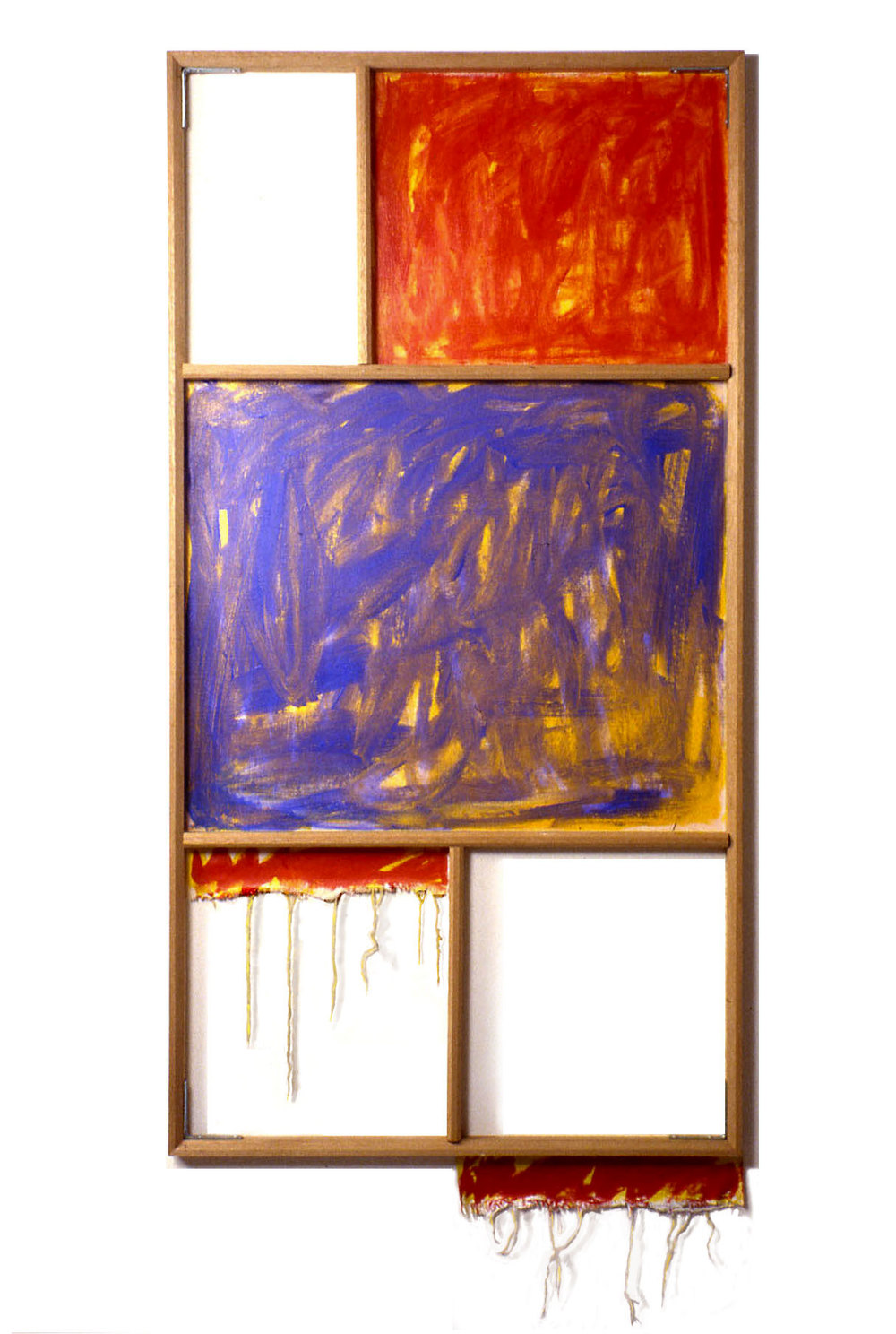 """Red, White and Blue"",1980  Oil on White Canvas with White Wall and Stretcher Bars  45""x60""x2"""