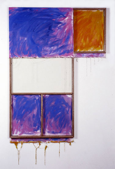 """Blue, Orange, Lavender, White"" 1980  Oil on White Canvas with White Wall and Stretcher Bars  45""x60""x2"""