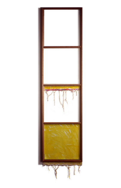 """Yellow White, Lavender"",1979  Acrylic on White Canvas with White Wall and Stretcher Bars  22""x80""x2"""