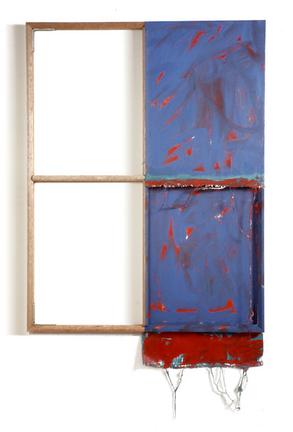"""Blue, Blue, White,White,Red"", 1978  Acrylic on White Canvas with White Wall and Stretcher Bars  45""x45""x2"""
