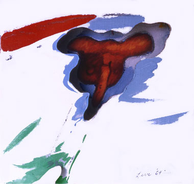 "Cows Skull and 3D convergence, 1964  Acrylic, Charcoal on Canvas on Masonite  12""x12""x3"""
