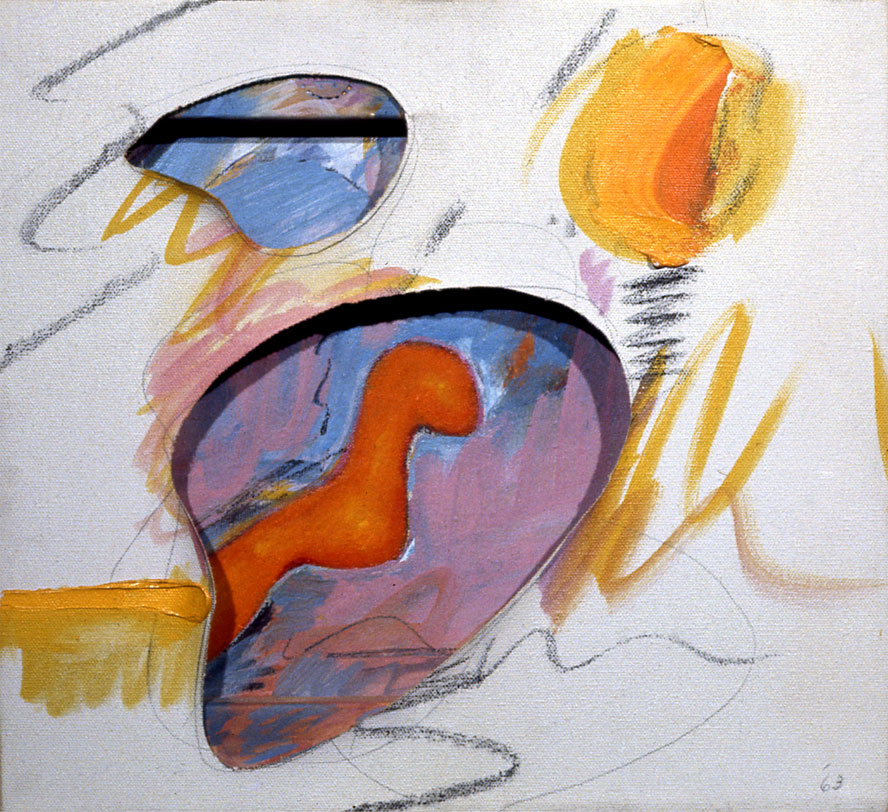 "First Organic Shape, 1962  Acrylic, Charcoal, on Canvas, Board. and Stretcher  12""x13""x2"""