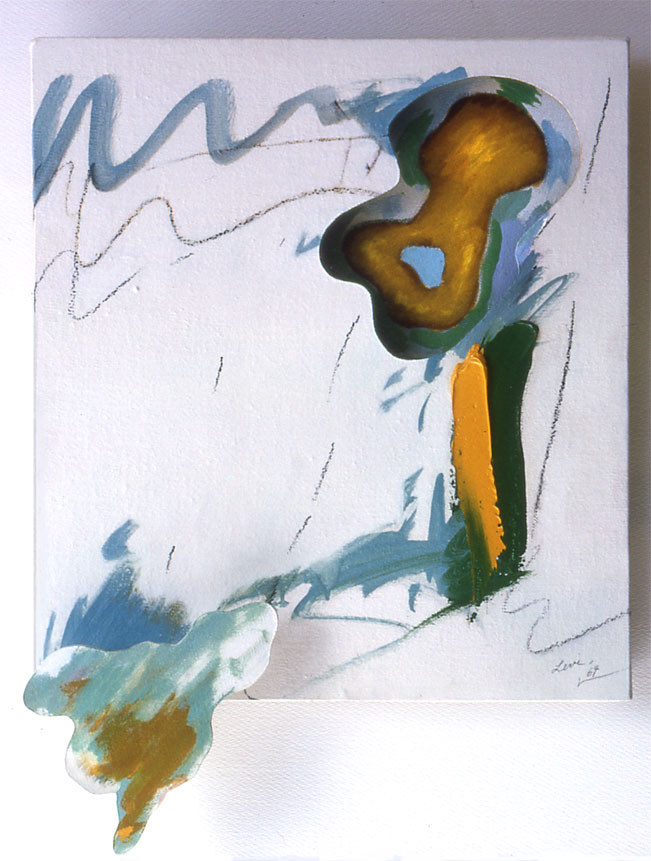 "Organic Yellow Ochre Explosions, 1964  Acryrlic and Charcoal on Canvas on Masonite  13""x16""x3"""