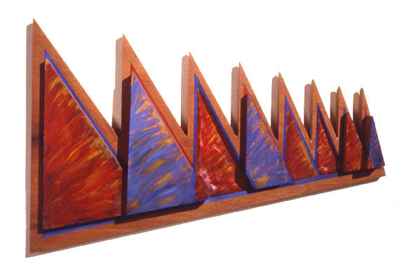 "Pine Trees, 1984  Bas Relief Wood Carving and Paint  16""23""x4"""