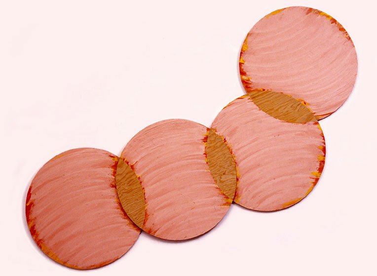 "Pink, Circle Series, 1988  Acrylic Paint on Plywood  72""x20""x1"""
