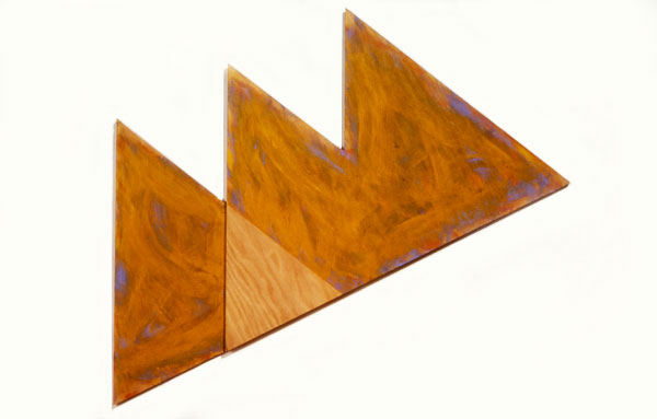 "Orange Triangles, 1986  Acrylic Paint on Plywood  18""x36""x1"""