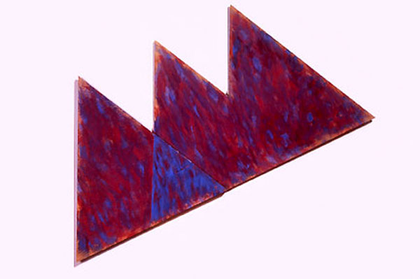 "Violet and Blue Triangles, 1986  Acrylic Paint on Plywood  18""x36""x1"