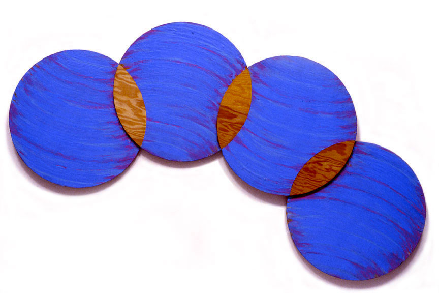 "Blue, Circle Series, 1988  Acrylic Paint on Plywood  72""x20""x1"""