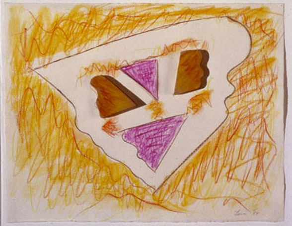 "Flying Mask, 1985  Crayon, Paint, Wood, on Paper  11""x14""x2"""