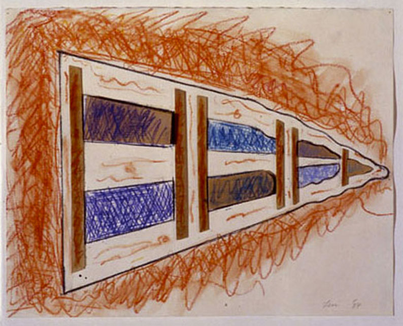 "Perspectives2, 1985  Crayon, Paint, Wood, on Paper  11""x14""x2"""