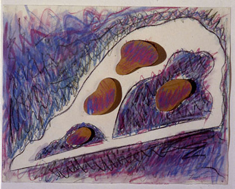 "Organic Violet Scape, 1985  Crayon, Paint, Wood, on Paper  11""x14""x3"""