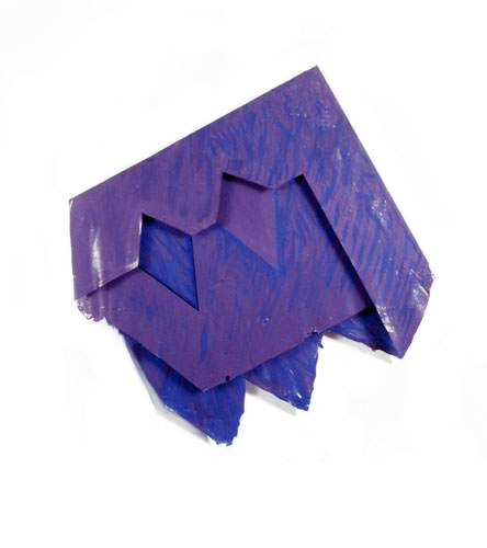 "Blue, Purple with Diamonds, 1977  Acrylic and Rhoplex Layered Paintings  20""x20""x3"""