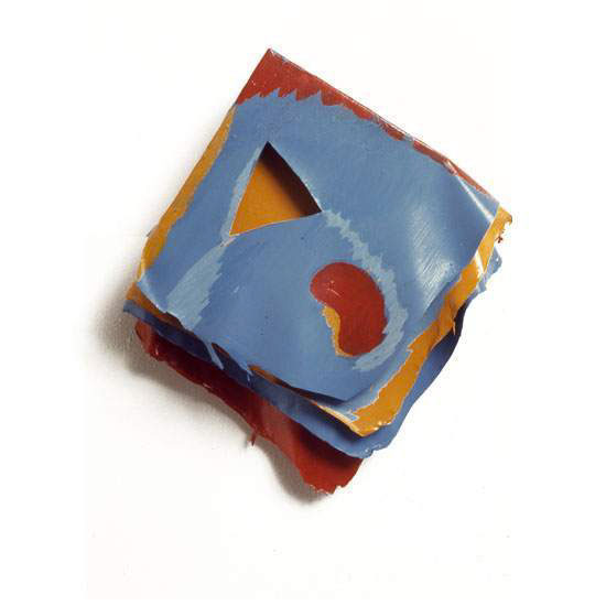 "Blue, Red, and Orange, Organic and Geo, 1975  Layered Acrylic and Rhoplex  8""x9""x3"""