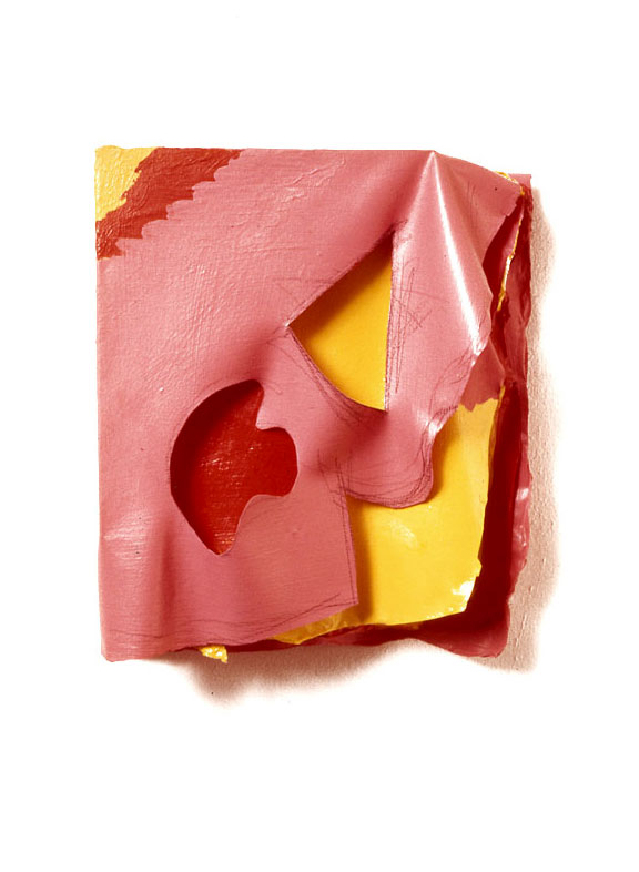 "Pink, Yellow, Red Folds, 1976  Layered Acrylic and Rhoplex  8""x9""x3"""