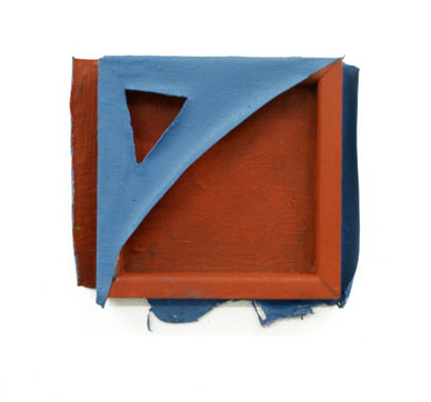 "Red and Blue Geo,1975  Layered Acrylic and Rhoplex  5""x5""x3"""