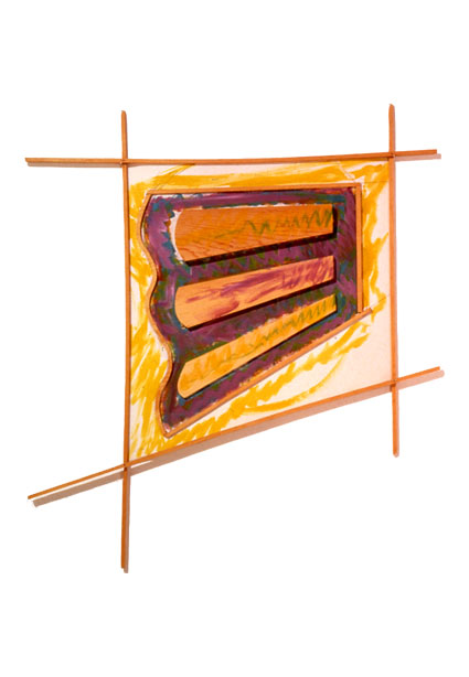 "Kite Flight, 1985  Acrylic Paint on Canvas and Wood  44""x34""x1"""
