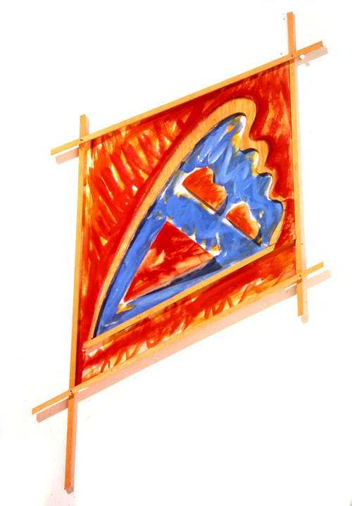 "Flight, Red, Blue, Orange, 1985  Acrylic Paint on Canvas and Wood  33""x27""x1"""
