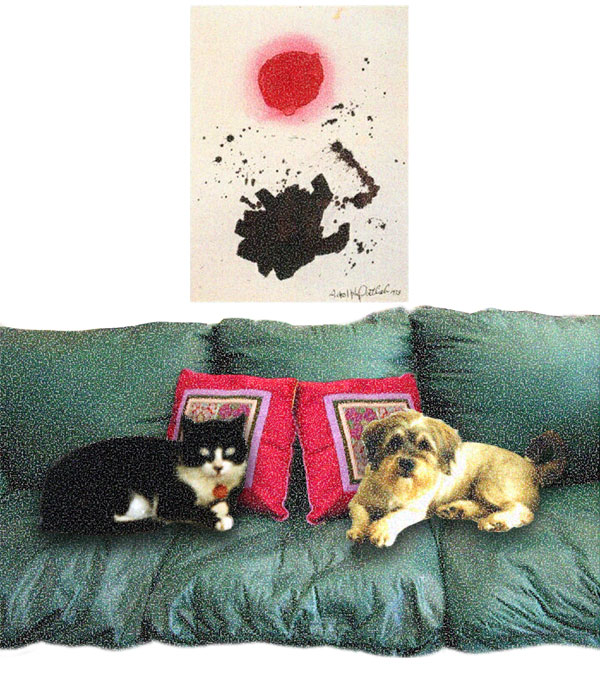 (Collectors) Chipper and Bucky In Front Of Their Adolph Gottlieb Painting, 2007  Digital Painting