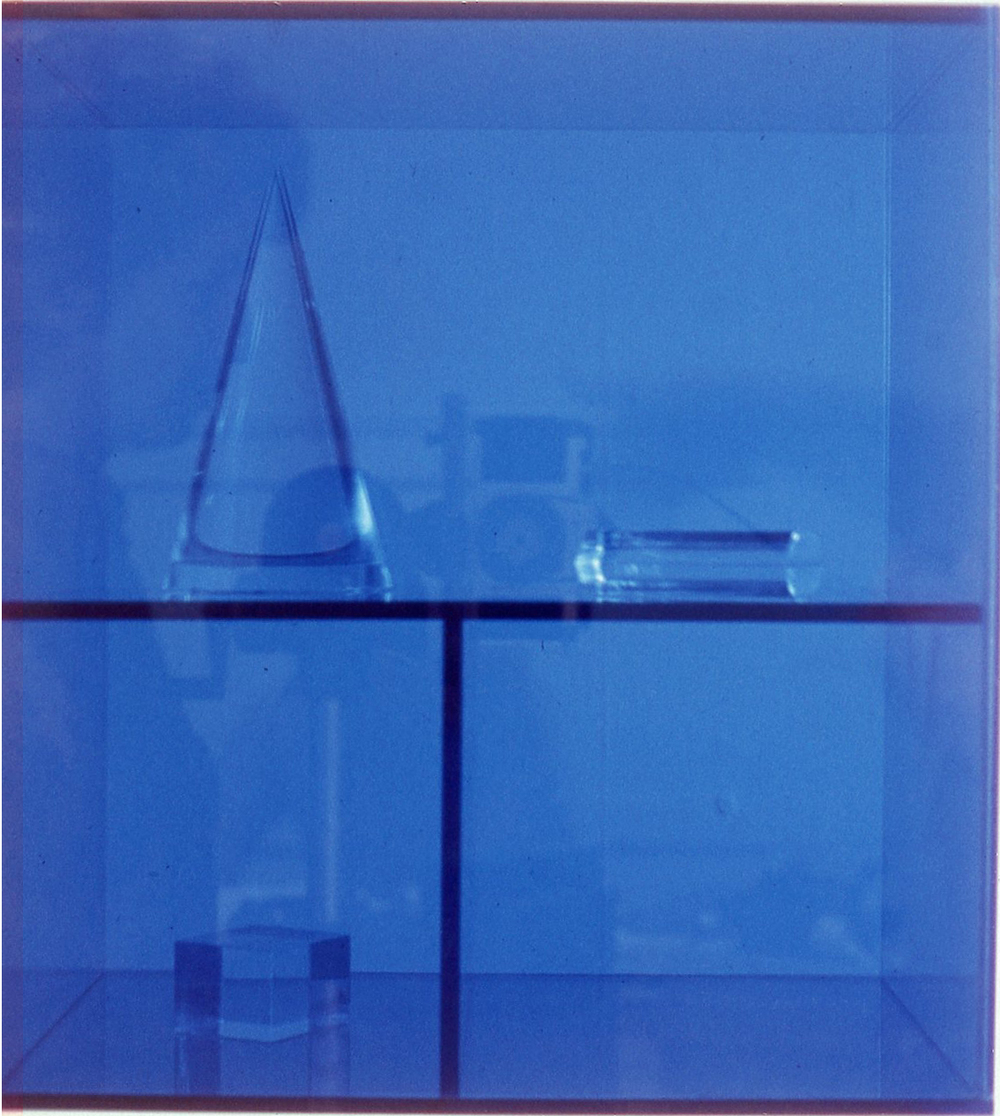 Blue Geometry, 1969  Acrylic Shapes in An Acrylic Box