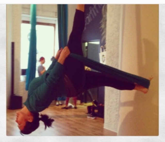 Nerissa demonstrates the power of air yoga
