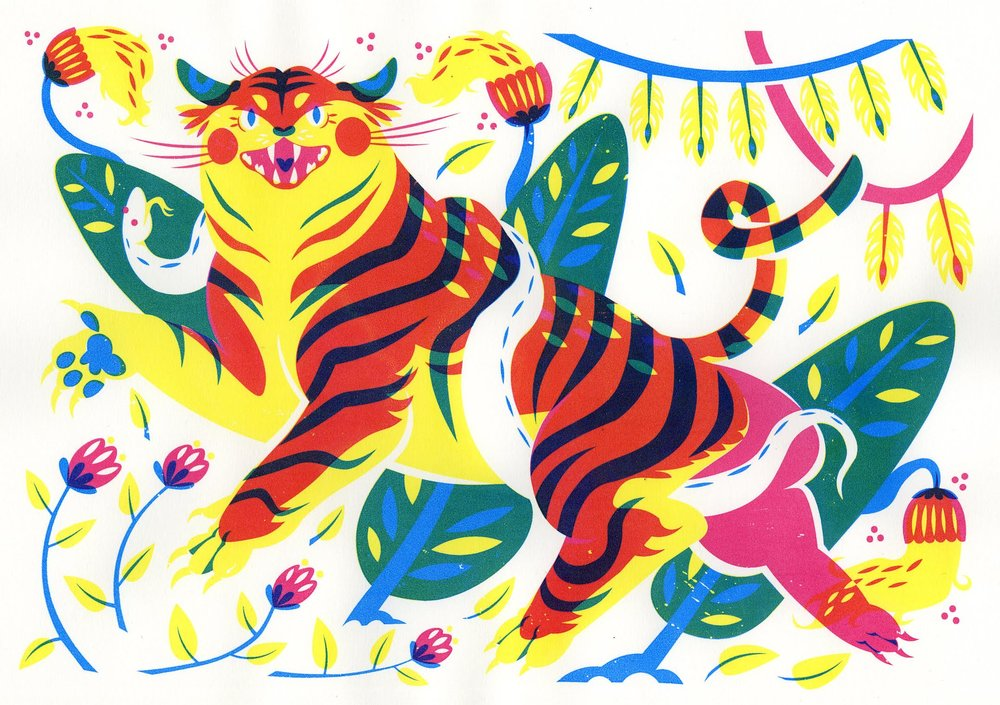 Tiger and Python - three color silkscreen
