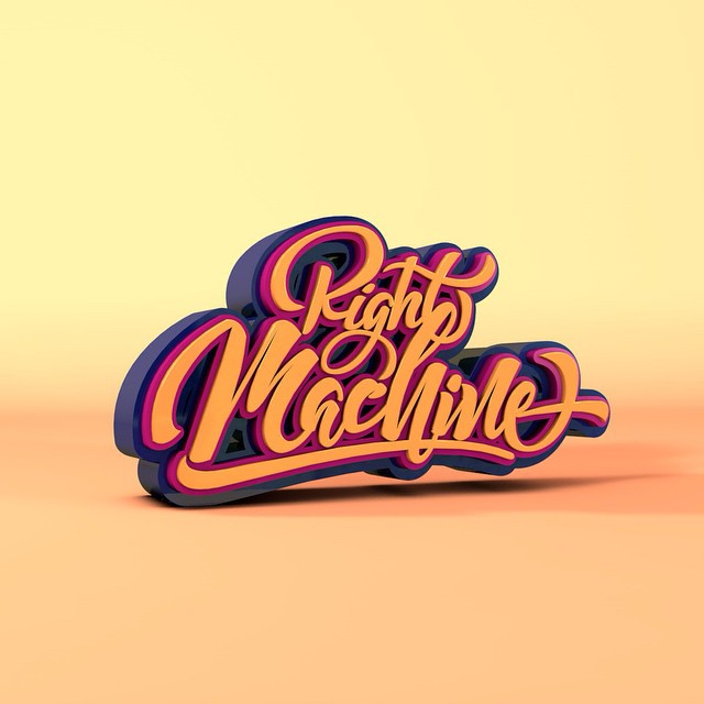 ritchieruiz: Right Machine. Lettering 3D #lettering #calligraphy #3D