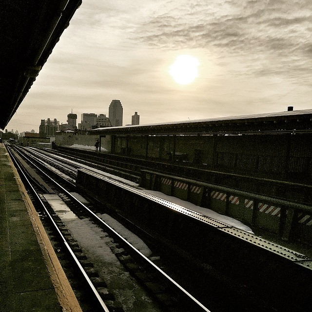 #winter #season #city #view #tracks #queens #sunset