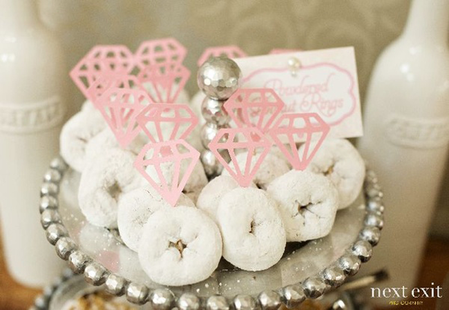 powdered-donuts-with-rings-for-bridal-shower-sweets