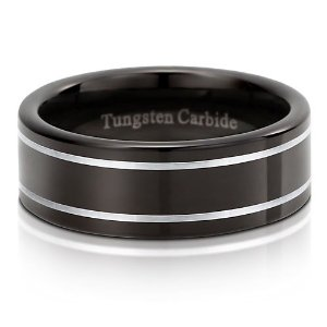 Polished-Comfort-Fit-Tungsten-Ring-8-mm-Mens-Engagement-Wedding-Band-Ring