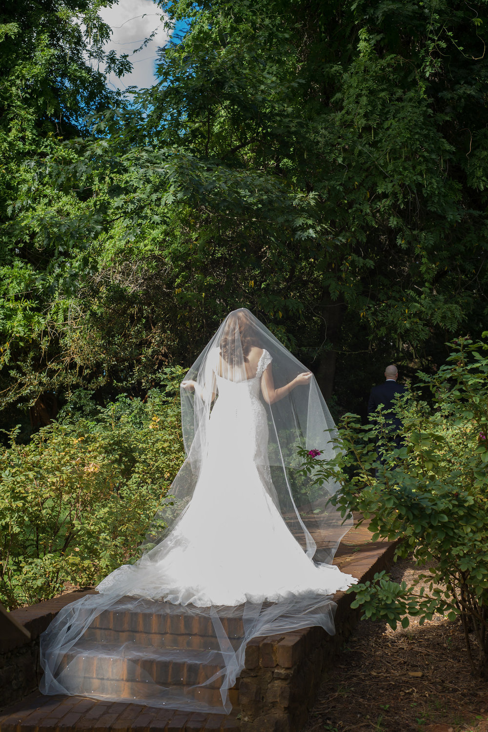 Her incredible gown and cathedral veil, Miosa Bridal Sacramento