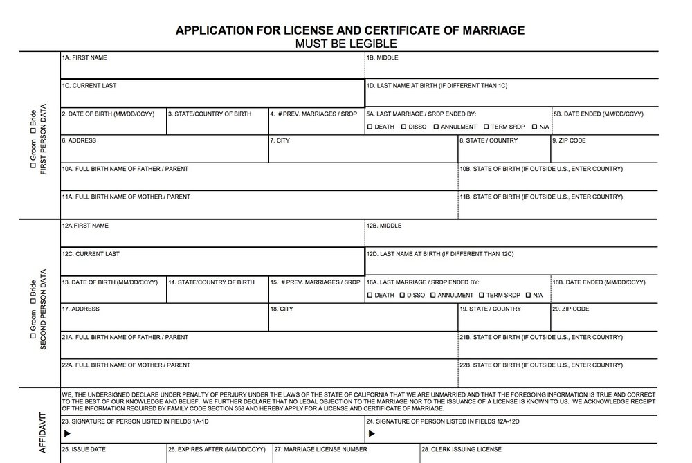 A snapshot of an application for a marriage license, courtesy of Butte County Clerk Recorders Office