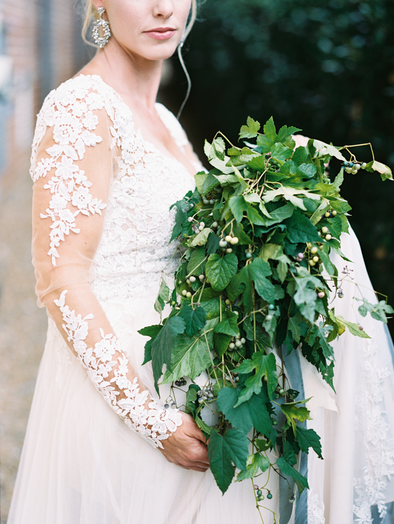 greenery wedding bouquet lace dress Atlanta venue Summerour