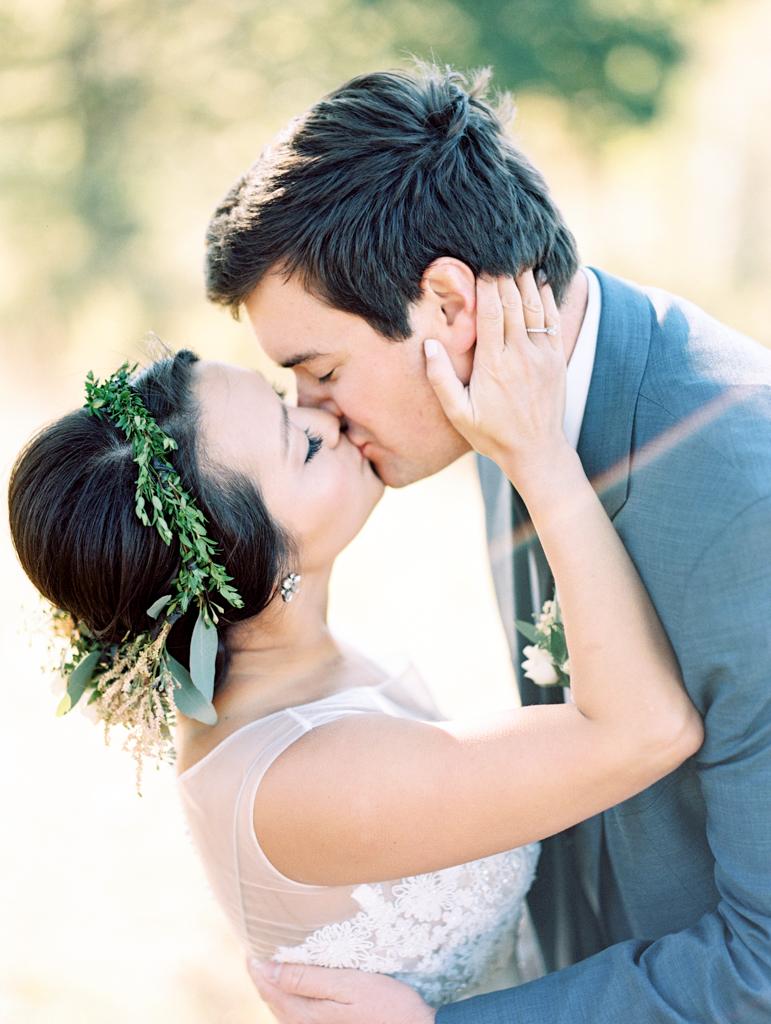 mountain wedding film photographer floral crown