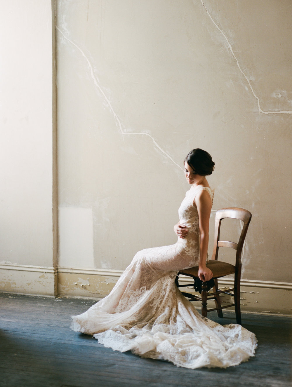 Lace bridal gown Fine art photographer film Savannah