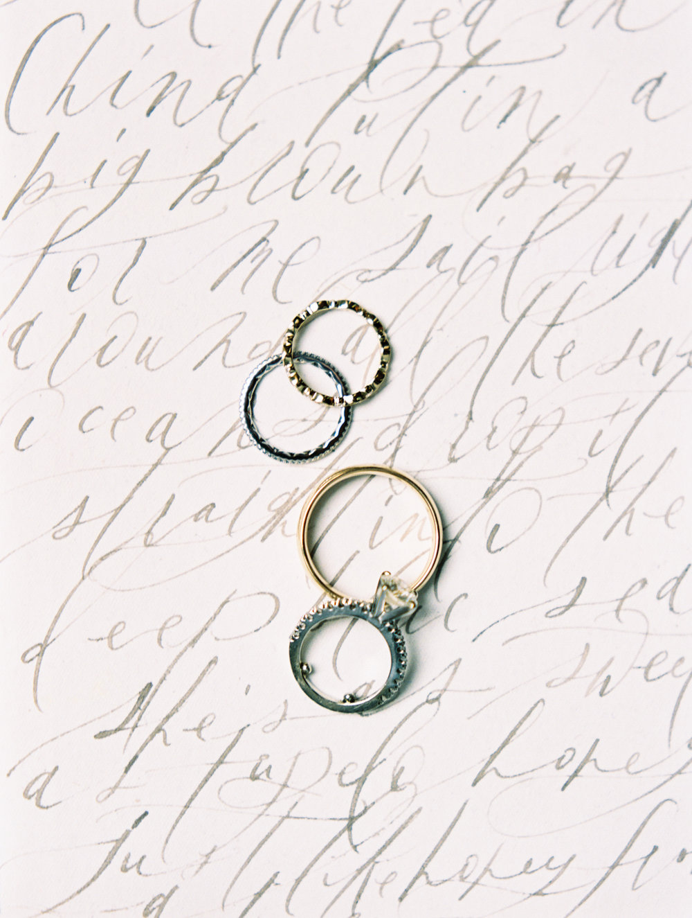 wedding calligraphy gold ring fine art