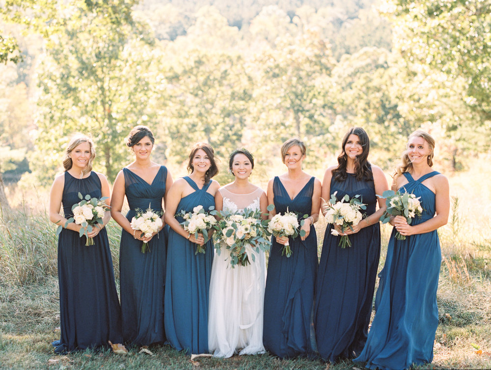 blue bridesmaids dress navy flowing gown