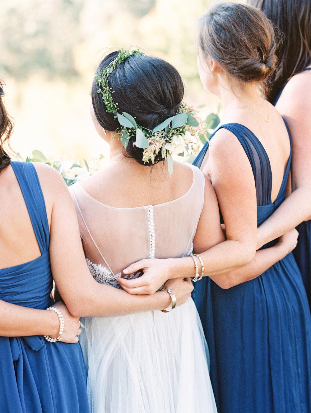 navy blue bridesmaid dresses flower crown