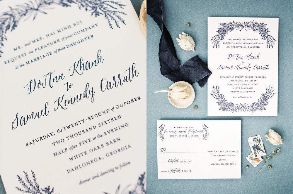 blue letterpress wedding invitations calligraphy
